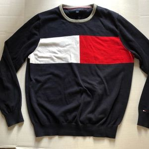 Sweater COLOR BLOCK Cotton L Red White Navy Soft